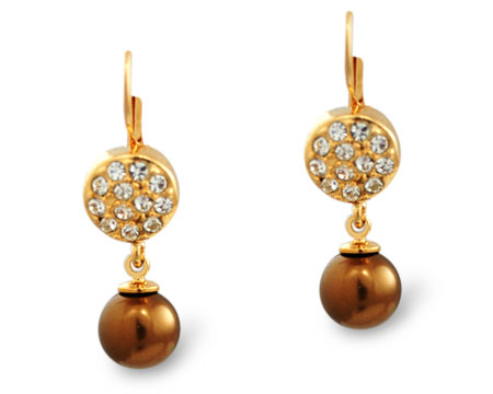 Formal Bronze Pearl, Gold and Rhinestone Earring