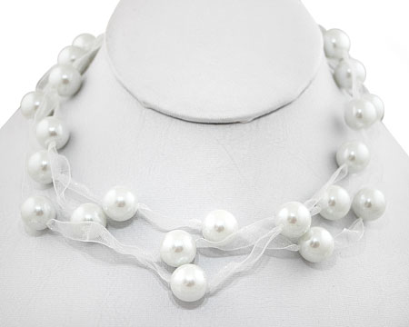 White Pearl and White Ribbon Three Strand Necklace (12mm)