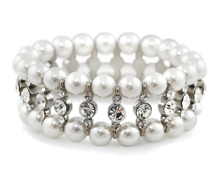 White Pearl, Clear Rhinestone and Silver Stretch Bracelet