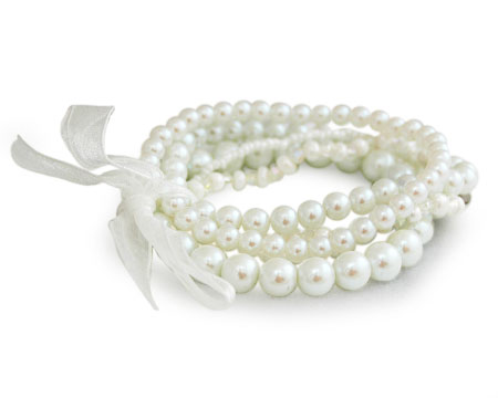 Bright White Multi-Strand Stretch Bracelet with Ribbon