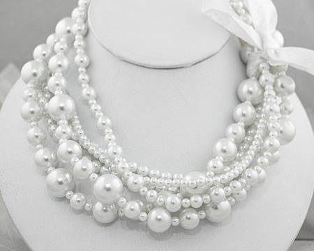 Multi Size and Strand White Pearl Necklace w/ Ribbon