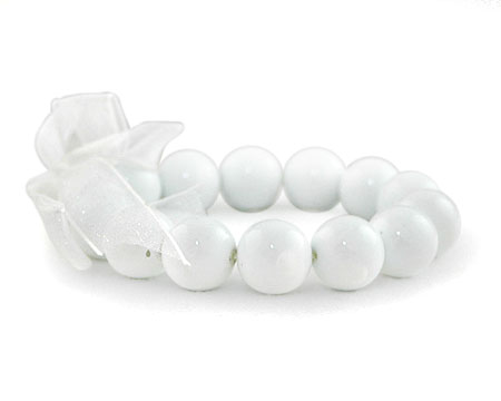 Solid White Pearl Stretch Bracelet (14mm)