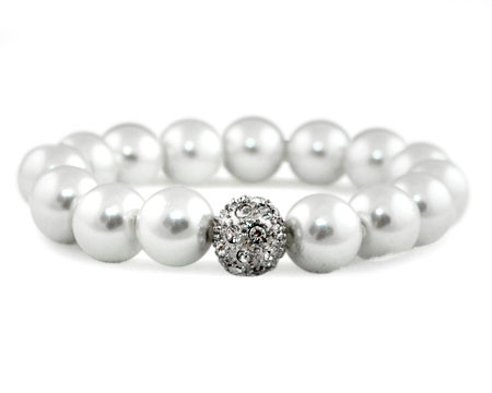 Formal White Pearl Stretch Bracelet with Rhinestones and Silver