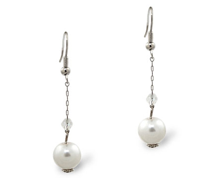 White Pearl and Small Crystal Earrings