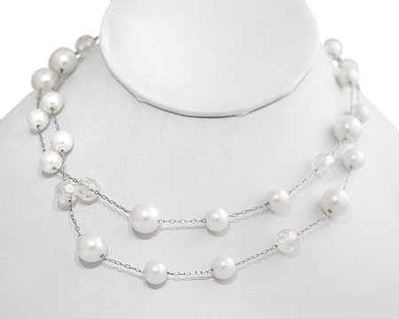Double Row Bright White Pearls with Clear Crystal Bead Necklace