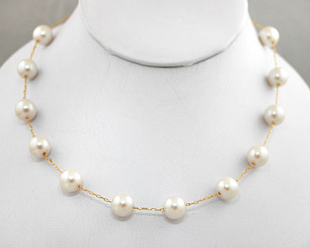 Cream/Champagne color pearl necklace on Gold (8mm/10mm)
