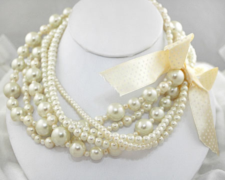 Multi Size and Strand Ivory Pearl Necklace w/ Ribbon