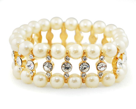 Ivory Pearl, Clear Rhinestone and Gold Stretch Bracelet