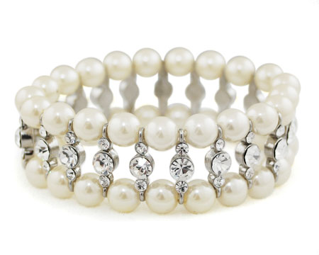 Cream Pearl, Clear Rhinestone and Silver Stretch Bracelet