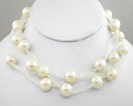 Soft Cream 3 Tier Pearl and Ribbon Necklace (12mm)