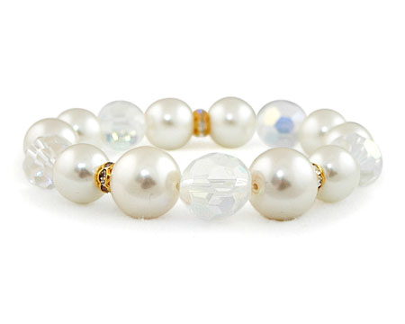 Ivory Cream Pearl Stretch Bracelet with Rhinestones/Crystals
