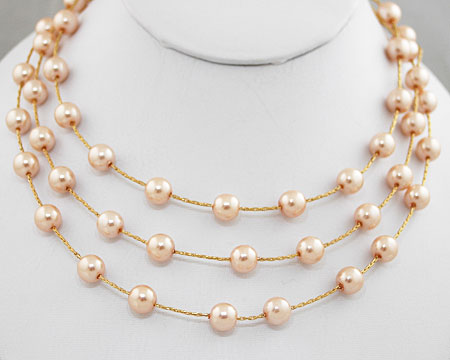 Ivory Rose Pearls on 3 Tier Silver Necklace