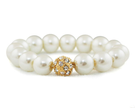 Formal Cream Pearl Stretch Bracelet with Rhinestones and Gold