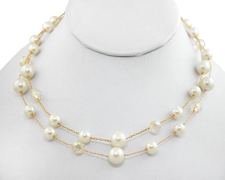 Double Row Cream Pearls with Clear Crystal Bead Necklace