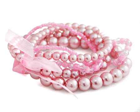 Pink Multi-Strand Stretch Bracelet with Crystals/Ribbon
