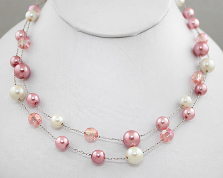 Double Row Pink/White Pearls w/ Pink Crystal Bead Necklace
