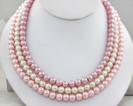 Pink, Mauve and White Pearl Necklace with Silver Clasp