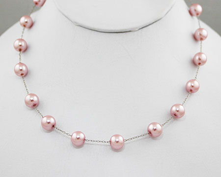 Pink Pearl Necklace on Silver (8mm)