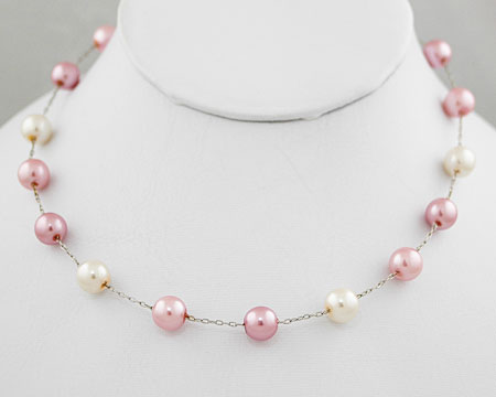 Pink, Mauve and White Pearl Necklace (8mm)