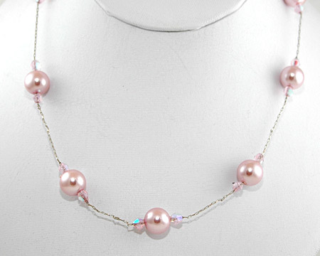 Pink Pearl and Small Crystal Necklace on Silver (10mm)