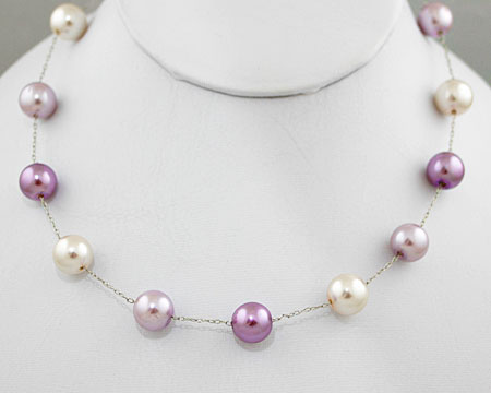 Lavendar, Lilac & White Pearl Necklace on Silver (10mm)