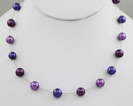 Deep Purple Color Pearl Necklace on Silver (8mm)