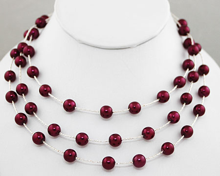 Bright Plum Pearls on 3 Tier Silver Necklace
