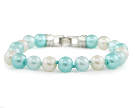 Light Blue, Aqua and White Pearl Bracelet (8mm/10mm)