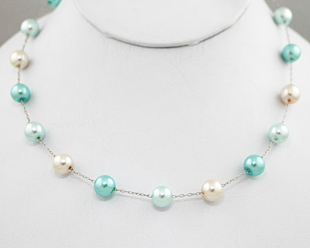 Light Blue, Aqua and White Pearl Necklace (8mm)