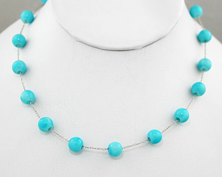 Turquoise Blue Necklace on Silver (8mm)