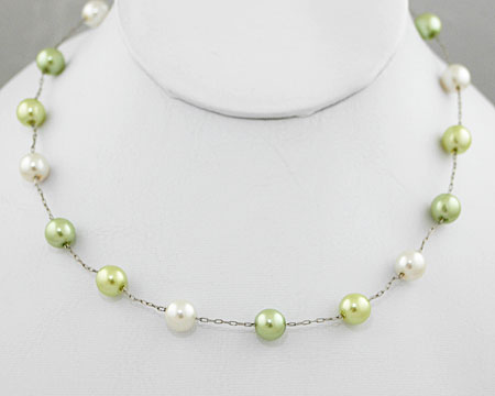 Lime Green, Light Citrus Lime and White 8mm Pearl Necklace (8mm)