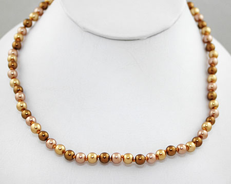 Bronze, Taupe and Light Gold Color 6mm Pearl Necklace (6mm)