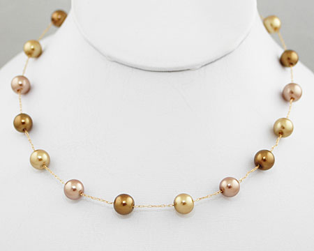 Bronze, Taupe and Light Gold Color Pearl Necklace (8/10mm)