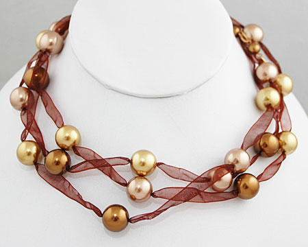 Bronze, Light Gold, & Taupe Pearl 3 Tier Ribbon Necklace (12mm)