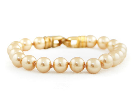Light Gold Pearl Bracelet with Gold Clasp (8mm)