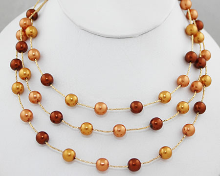 Bronze, Hazelnut, Gold Pearls on 3 Tier Necklace