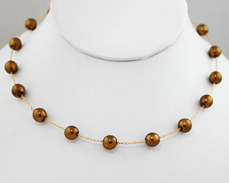 Olive Brown Pearl Necklace on Gold (8mm)