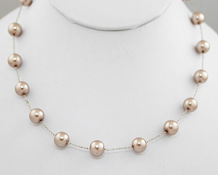 Taupe Color Pearl Necklace on Silver (8mm)