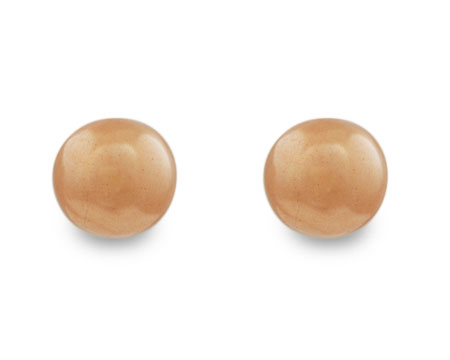 Rich Champagne Pearl Stud Earrings on Gold (8mm)