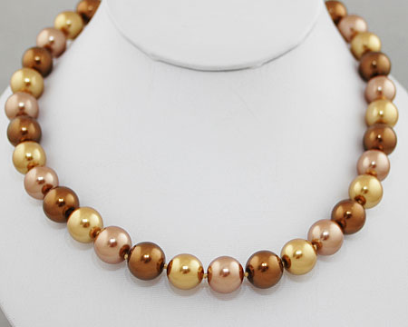 Formal Bronze, Taupe and Light Gold Color Pearl Necklace (12mm)