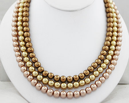 Bronze, Taupe and Gold Pearl Necklace