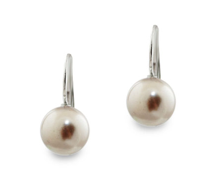 Taupe Single Pearl Hangy Earring (10mm) (Brown)