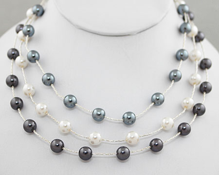 Gray & White Pearls on Silver 3 Tier Necklace