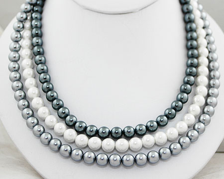 Steel, Gunmetal and White Pearl Necklace with Silver Clasp