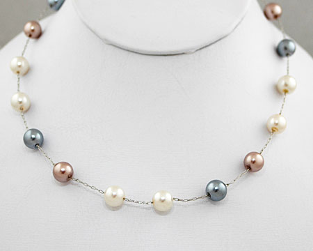 White, Silver & Taupe Pearl Bead Necklace (8mm)